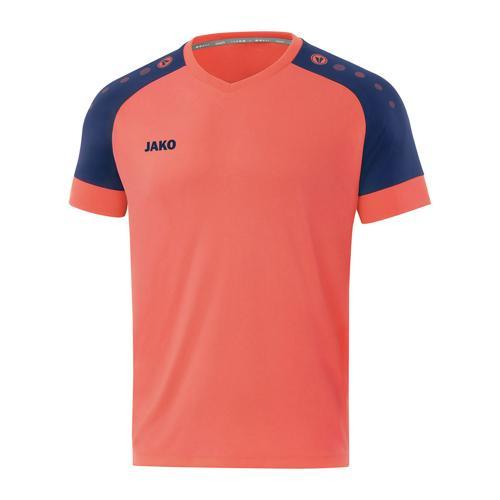 Maillot de foot manches courtes enfant - Jako - Champ 2.0 Orange fluo/Bleu marine