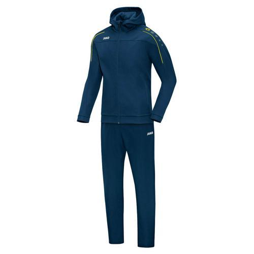 Ensemble survêtement de foot veste à capuchon et pantalon enfant - Jako - Classico Bleu marine/Jaune