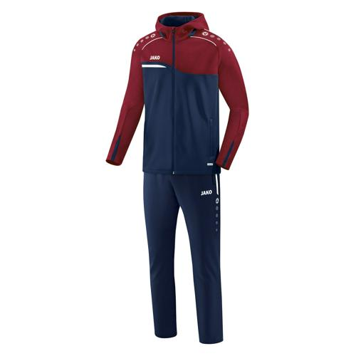 Ensemble survêtement de foot veste à capuchon et pantalon enfant - Jako - Competition 2.0 Bleu marine/Rouge bordeaux