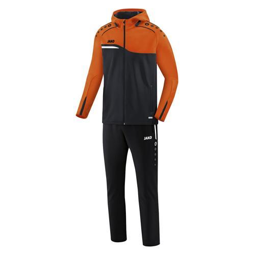 Ensemble survêtement de foot veste à capuchon et pantalon enfant - Jako - Competition 2.0 Noir/Orange fluo