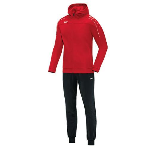 Ensemble survêtement de foot veste à capuchon et pantalon polyester enfant - Jako Classico Rouge