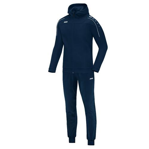 Ensemble survêtement de foot veste à capuchon et pantalon polyester enfant - Jako Classico Bleu marine