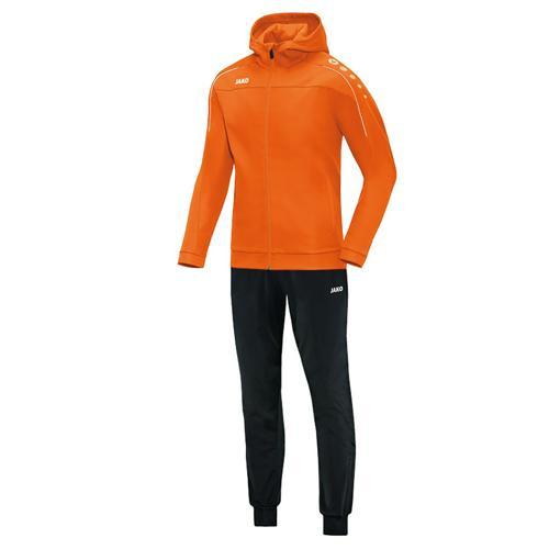 Ensemble survêtement de foot veste à capuchon et pantalon polyester enfant - Jako Classico Orange fluo