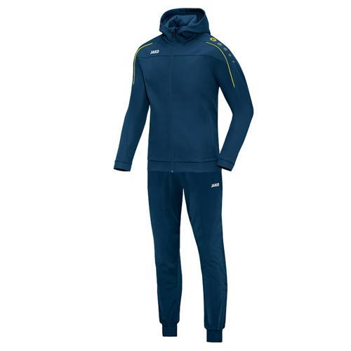 Ensemble survêtement de foot veste à capuchon et pantalon polyester enfant - Jako Classico Bleu marine/Jaune