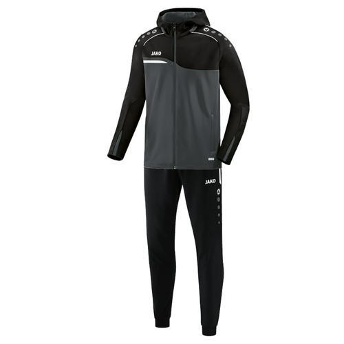 Ensemble survêtement de foot veste à capuchon et pantalon polyester enfant - Jako Competition 2.0 Gris/Noir