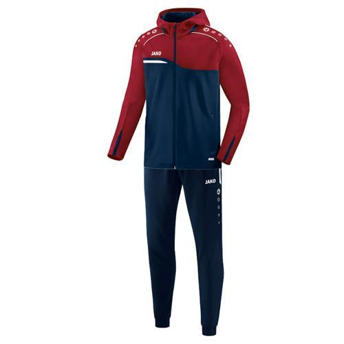 Ensemble survêtement de foot veste à capuchon et pantalon polyester enfant - Jako Competition 2.0 Bleu marine/Rouge bord