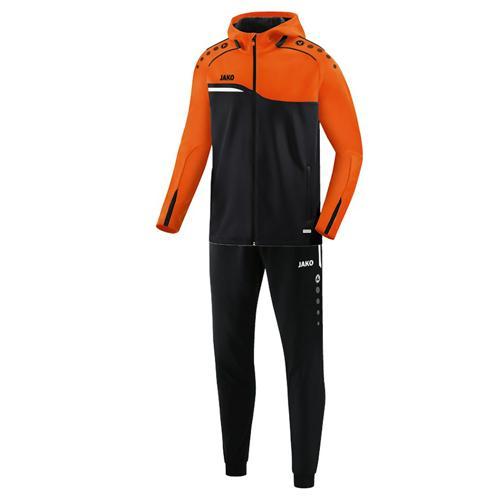 Ensemble survêtement de foot veste à capuchon et pantalon polyester enfant - Jako Competition 2.0 Noir/Orange fluo