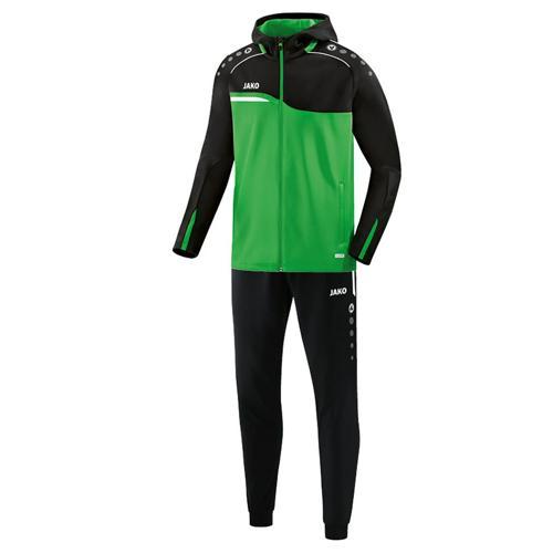 Ensemble survêtement de foot veste à capuchon et pantalon polyester enfant - Jako Competition 2.0 Vert/Noir