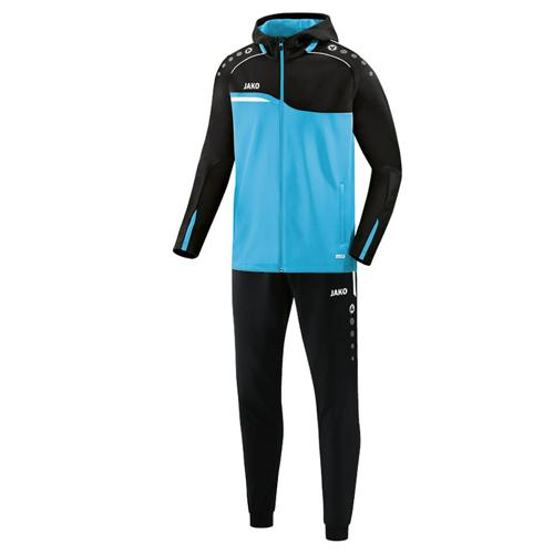 Ensemble survêtement de foot veste à capuchon et pantalon polyester enfant - Jako Competition 2.0 Bleu clair/Noir