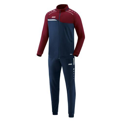 Ensemble survêtement de foot polyester veste et pantalon enfant - Jako - Competition 2.0 Bleu marine/Rouge bordeaux