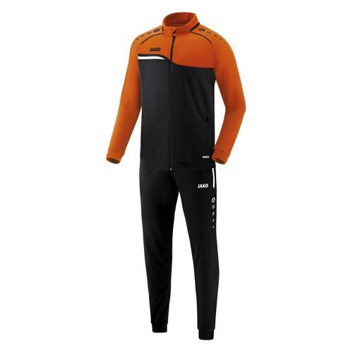 Ensemble survêtement de foot polyester veste et pantalon enfant - Jako - Competition 2.0 Noir/Orange fluo