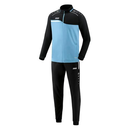 Ensemble survêtement de foot polyester veste et pantalon enfant - Jako - Competition 2.0 Bleu clair/Noir
