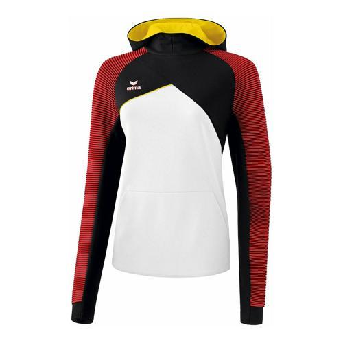 Sweat à capuche - Erima premium one 2.0 femme blanc/noir/rouge/jaune