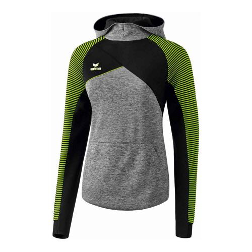 Sweat à capuche - Erima premium one 2.0 femme gris chiné/noir/lime pop