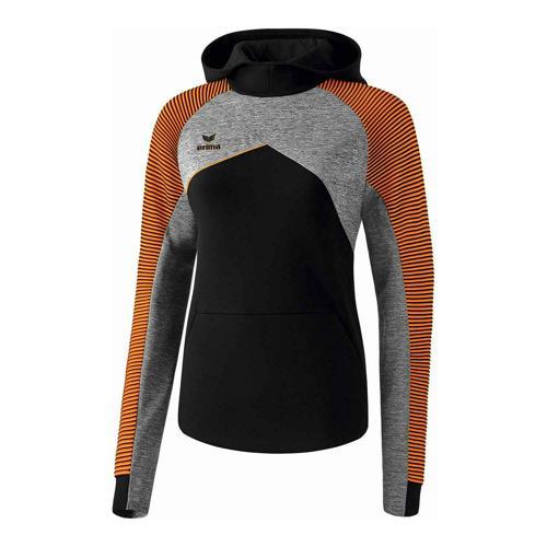 Sweat à capuche - Erima premium one 2.0 femme noir/gris chiné/orange fluo