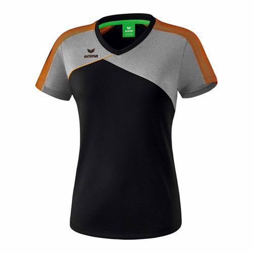 T-shirt - Erima - premium one 2.0 femme noir/gris chiné/orange fluo