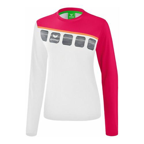 T-shirt manches longues Erima - 5-c enfant blanc/love rose/peach