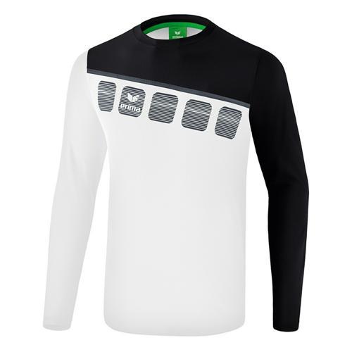 T-shirt manches longues Erima - 5-c enfant blanc/noir/dark grey