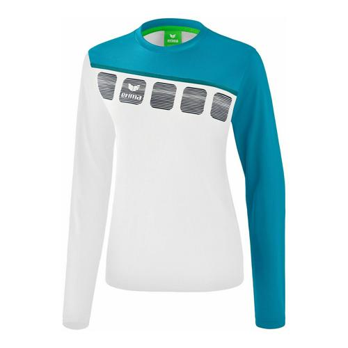 T-shirt manches longues Erima - 5-c femme blanc/oriental blue/colonial blue