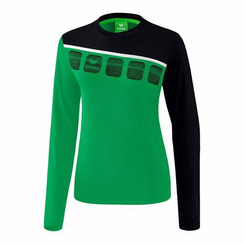 T-shirt manches longues Erima - 5-c femme émeraude/noir/blanc