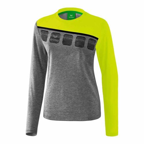 T-shirt manches longues Erima - 5-c femme gris chiné/lime pop/noir