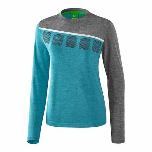 T-shirt manches longues Erima - 5-c femme oriental blue chiné/gris chiné/blanc