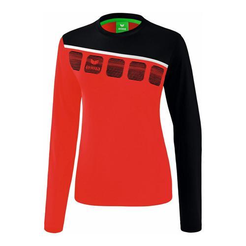 T-shirt manches longues Erima - 5-c femme rouge/noir/blanc