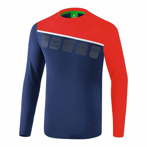 T-shirt manches longues Erima - 5-c new navy/rouge/blanc
