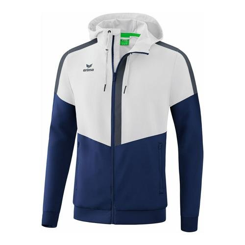 Veste à capuche - Erima tracktop squad blanc/new navy/slate grey