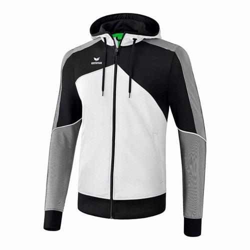 Veste d'entraînement à capuche - Erima - premium one 2.0 enfant blanc/noir/blanc
