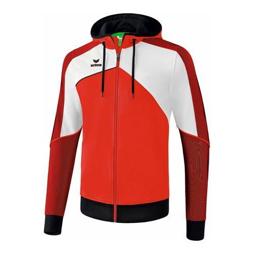 Veste d'entraînement à capuche - Erima - premium one 2.0 enfant rouge/blanc/noir