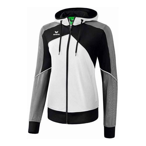 Veste d'entraînement à capuche - Erima - premium one 2.0 femme blanc/noir/blanc