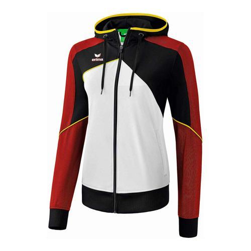 Veste d'entraînement à capuche - Erima - premium one 2.0 femme blanc/noir/rouge/jaune