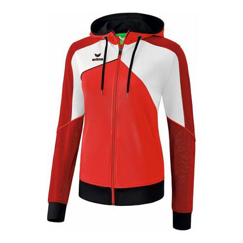 Veste d'entraînement à capuche - Erima - premium one 2.0 femme rouge/blanc/noir