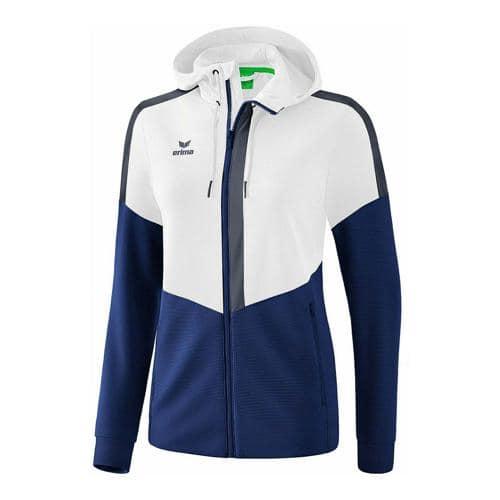 Veste d'entraînement à capuche - Erima - squad femme blanc/new navy/slate grey