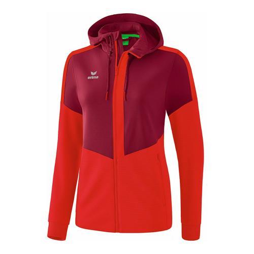 Veste d'entraînement à capuche - Erima - squad femme bordeaux/rouge