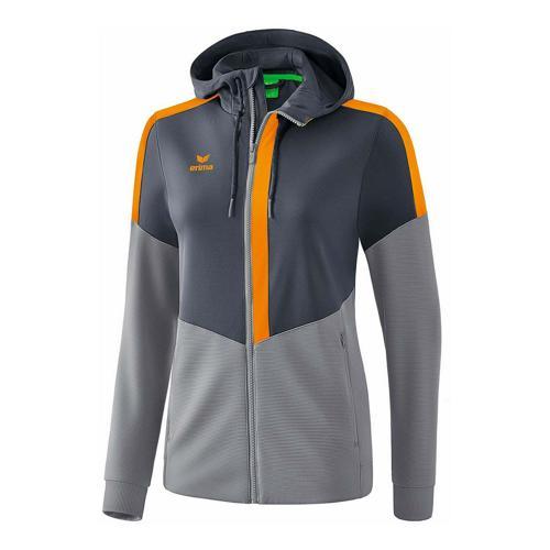 Veste d'entraînement à capuche - Erima - squad femme slate grey/monument grey/new orange