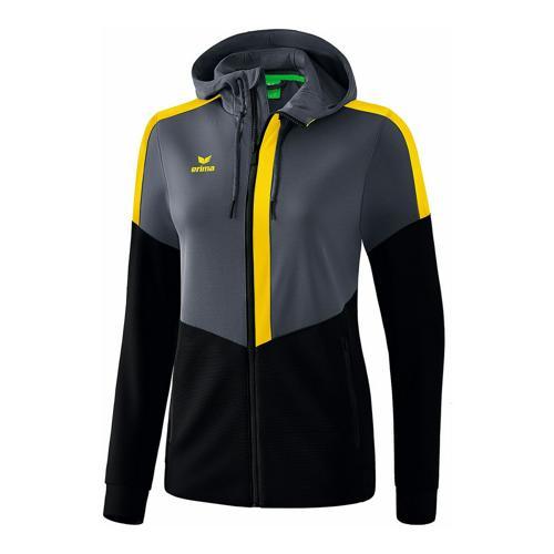 Veste d'entraînement à capuche - Erima - squad femme slate grey/noir/jaune