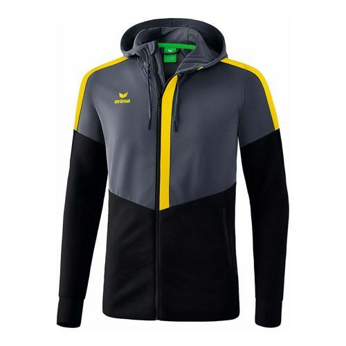 Veste d'entraînement à capuche - Erima - squad slate grey/noir/jaune