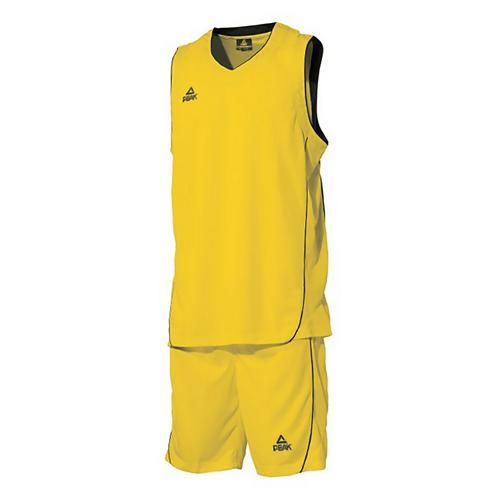 Ensemble maillot/short de basket enfant - Peak jaune/noir