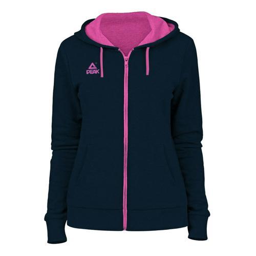 Sweat à capuche zippé femme Peak gris anthracite/rose
