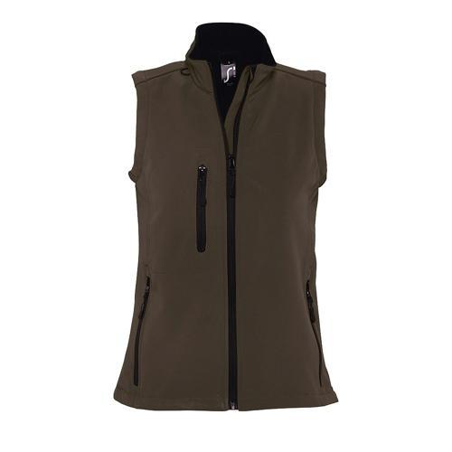 Veste sans manche femme zippée softshell en polyester CHOCOLAT FONCE