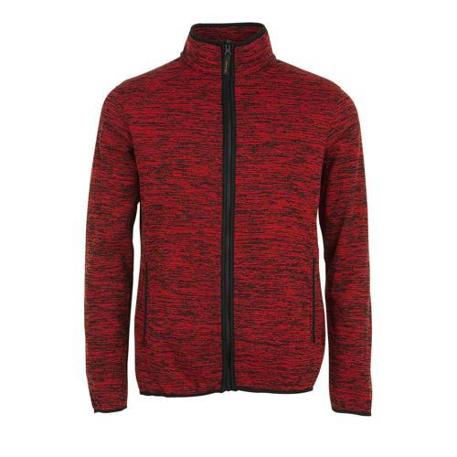 Veste polaire tricot en polyester ROUGE / NOIR