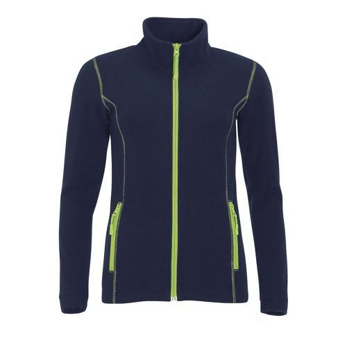 Veste femme micropolaire zippée en polyester MARINE/VERT POM