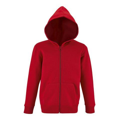 Veste zippée à capuche enfant en coton ROUGE