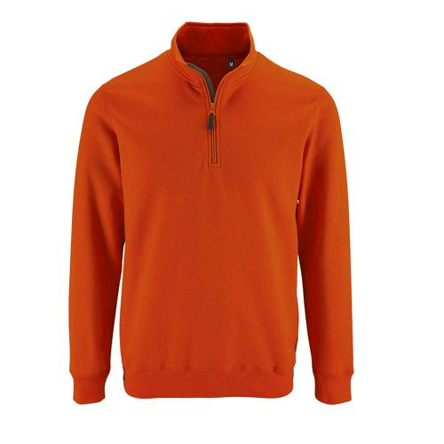 Sweat personnalisable col camionneur en coton ORANGE