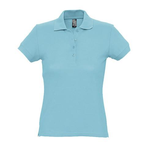 Polo personnalisable femme en coton BLEU ATOLL