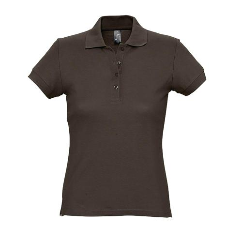 Polo personnalisable femme en coton CHOCOLAT