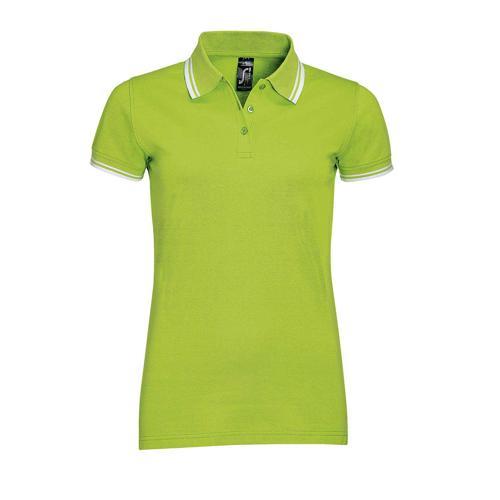 Polo personnalisable femme en coton peigné LIME/BLANC