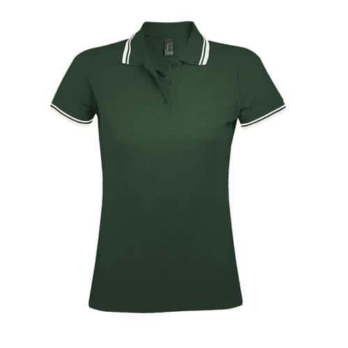 Polo personnalisable femme en coton peigné VERT FORET/BLAN